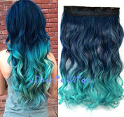 Black to Green Two Colour Ombre hair extension, Synthetic Hair extensions UF240