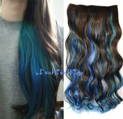 Dark Brown Mixed Royal Blue and Sky Blue Three Colours Ombre hair extension, Synthetic Hair extensions UF250