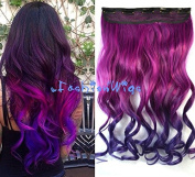 Rose Colour to Dark Purple Two Colour Ombre hair extension, Synthetic Hair extensions UF244