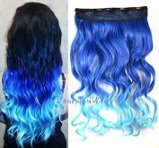 Royal Blue to Sky Blue Two Colour Ombre hair extension, Synthetic Hair extensions UF233
