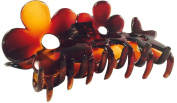 Parcelona French Flowers Medium Covered Spring Tortoise Shell Celluloid Jaw Hair Claw Clamp Clutcher Clip