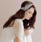 #13 Silver Comb Crystal Diamond Bride Bridal Wedding Accessory Hair Head Band Wear Rhinestone Jewellery Headdress Headband Tiara Coronal Chain