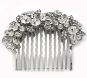 Gorgeous Bridal Wedding Flower Floral Tiara Hair Comb Bridesmaid Lady Girl Teen Prom Beauty Pageant Clear Rhinestones Hair Accessory Costume Wedding Jewellery