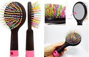 Eye Candy Rainbow S-curl Air Volume Brush with Back Mirror for Abundant Hair & Detangling Comb, Hair Brush