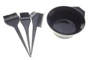 4 Pcs Black Plastic Tint Bowl Hair Dye Colouring Brush Stylist Tools
