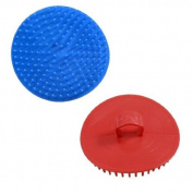 So Beauty 2 Pcs 8.9cm Dia Round Scalp Head Massage Shampoo Brushes Red Blue by So Beauty