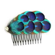 KKISSPAT@ Blue Peacock Hair Comb, Handcraft Feather Comb, Wedding Hair Comb & Bridesmaid Gift