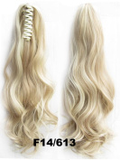 Beauty Wig World 20inch 50cm 100g Long Wave Curly Ponytail Hairpiece Extension Claw Clip on in Hair Piece - #14/613 Medium Blonde/bleach blonde