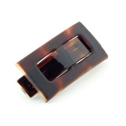 Parcelona French Rectangular Celluloid Tortoise Shell Buckle Hair Clip Barrette- Approx. 8.9cm