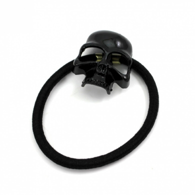Women's Retro Punk Fashion Metallic 3D Skull HairBand Rope Tie Wrap Ponytail Holder Black