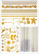 Metallic Gold Temporary Tattoos 3 Sheets