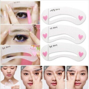 3pcs Lady Eyebrow Grooming Beauty Tools Plastic Brow Drawing Shaping Template