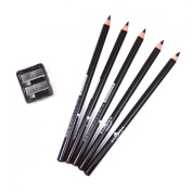 5 BLACK ITALIA EYE LIP LINER PENCIL 1001 SET + FREE SHARPENER & FREE EARRING