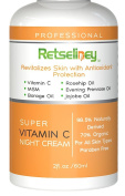 Retseliney Best Professional Vegan Organic Vitamin C Night Cream, Facial Moisturiser, Treatment for Face, Best Anti Ageing Facial Lotion with Vitamin C Serum, Coconut Oil, Jojoba Oil, Tamanu Oil, Rosehip Oil and Vitamin B5, Natural Anti Wrinkle Cream W ..