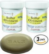 3 PACK- Two (2) 10% Sulphur Ointment + (1) SAL3 Soap, 10% Sulphur, 3% Salicylic Acid- Go All Natural ! ZERO PEG