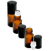 Grand Parfums Empty 2ml Amber Glass Micro Mini Rollon Dram Glass Bottles with Metal Roller Balls - Refillable Aromatherapy Essential Oil Roll On - Bulk - 1/2 Dram Pack of 6 -
