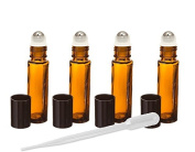 Amber Glass Essential Oil Rollerball Bottles with Stainless Steel Rollerballs, 10ml Aromatherapy Glass Roll on Bottles - Set of 6 (Amber) by Grand Parfums 6 Pack Roller Ball Glass Bottles