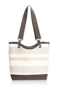 Thirty One bags Canvas Crew Mini Taupe Straw Stripe