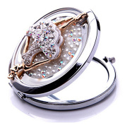 EVTECH(TM) 3D Bling Crystal Rhinestones Stainless Travel Compact Pocket Crystal Folding Foldable Makeup Mirror