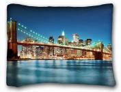 City Custom Decoration Standard Size PillowCase - City brooklyn bridge united states new york images river light night
