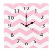Trend Lab Chevron Wall Clock, Pink Sky