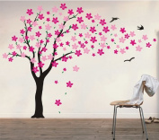 Pop Decors Drifting Flowers and Birds Tree Wall Decals for Nursery Room, 180cm