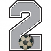 """2"" Soccer Ball Jersey Number Varsity Uniform Wall Sticker. Decal Numbers for Children's, Nursery & Baby's Sport Room Decor, Baby Wall Team Number Stickers, Boys Bedroom Wall Sports Decorations. Sports Balls Kids Mural Walls Decals, Baby Shower"