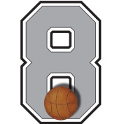 """8"" Basketball Jersey Number Varsity Uniform Wall Sticker. Decal Numbers for Children's, Nursery & Baby's Sport Room Decor, Baby Wall Team Number Stickers, Boys Bedroom Wall Sports Decorations. Sports Balls Kids Mural Walls Decals, Baby Shower"