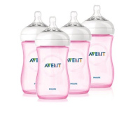 Philips Avent 4 Pack Natural Polypropylene BPA Free Bottles, Pink, 270ml