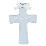 C.R. Gibson Bless This Child Ceramic Hanging Wall Cross, Boy