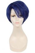 L-email 25cm/9.84inch Yu Kashima Short Straight Cosplay Wig Dark Blue
