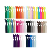 Sea Team 50 PCS No Crease Hair Ties Elastic Ponytail Holders Solid Assortment Hair Ties Collection