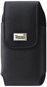 Reiko Vertical Leather Pouch with Belt Clip for Samsung Note 2 N7100 - Retail Packaging - Black