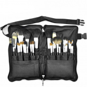 Professional 32Pcs Premium Goat Hair Brushes Zipper Folio Makeup Apron Bag Cosmetic