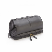 Royce Leather Toiletry Bag with Zippered Bottom Compartment