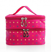 EN'DA professional Practical New Pattern Travelling Makeup Bag, Small Dots Pattern, Double Layer Cosmetic Bag