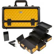 Seya Beauty Pro Aluminium Makeup Train Case w/ Brush Holder - Yellow Diamond