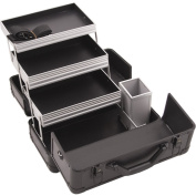 Hiker HK3101 3-Tier Professional Aluminium Case with Extendable Trays and Brush Holder, 38cm , Smooth Pattern, Black