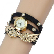 Coromose Leather Strap Angel Wings Rivet Wristwatch