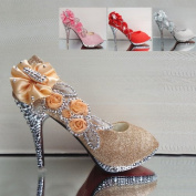 Golden Womens Party Platform High Heel Wedding Bridal Shoes Open Toe Glitter Pumps