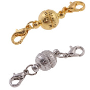 YDT Golden and Silver Colour Round Tone Magnetic Lobster Clasps for Jewellery Necklace Bracelet 10pcs