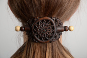Handmade Designer Dark Tinted Wooden Hair Clip with Carved Ornament