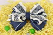 Hair Clip with Bow Made of Blue Rep Ribbon with Lace