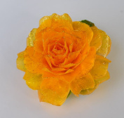 New Sweet Fashion Flower Bright Yellow Rose Handmade Fish Scale Glitter Brooch Pin Hair Clip Accessory