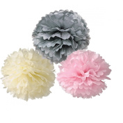 HoHoDeal Set of 6 Mixed Ivory Grey Pink Tissue Paper Pom Poms Wedding Baby Shower Party Nursery Hanging Decroation