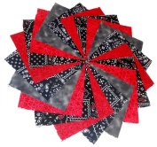 40 13cm Caboose, Reds, Black Bandanna Charm Pack