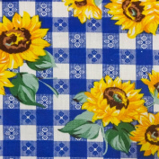 Sunflowers on Blue Chequered Poly Cotton, 150cm /150cm Inches Wide - Sold By The Yard