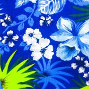 Hawaiian Floral Blue Poly Cotton, 150cm /150cm Inches Wide - Sold By The Yard
