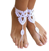 Sealike Handmade Crochet Barefoot Sandals Wedding Beach Jewellery Shoes Footless Sandles Foot Jewellery Summer Shoes with Stylus White