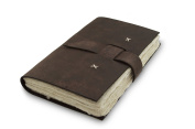 Nepali Traveller Journal with Handmade Lokta Paper and Water Buffalo Leather. Made in Nepal.